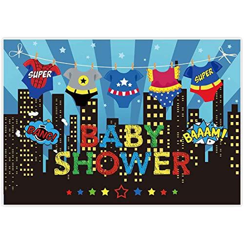 Batman Baby Shower Ideas (Allenjoy 7x5ft Superhero Baby Shower Backdrops Blue Super City Skyline Buildings Children Boy 1st Themed Birthday Photography Party Event Banner Photo Studio Booth Background Baby Shower)