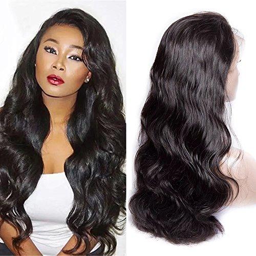 Maxine Hair – Peluca de cabello virgen brasileño, 180% de densidad, ondulado, calidad 9A, pelo humano con «baby hair» para mujeres negras con correas ajustables