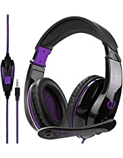 Wired Stereo Gaming Headset, Anivia A9 3.5mm Over Ear Noise Isolating Headphones with Microphone for PS4/NewXboxOne/PC/Mac/Smartphones/Tablets/Laptop-Black purple