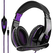 [2018 Newest Gamer Gift] Anivia A9 PS4 Gaming Headset Stereo PC Computer Headphones with Microphone,Over Ear Noise Canceling 3.5mm Jack for Playstation 4 New Xbox One Mac Games,Black/Purple