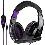 Stereo Gaming Headset PS4 Xbox One X, Anivia A9S Wired Over Ear Headphone with Mic for PC MAC Laptop Mobile iPad Nintendo Switch Games(Black Purple)