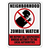 Beistle Neighborhood Zombie Watch Sign, 17 by 13-Inch, Red/Black/White