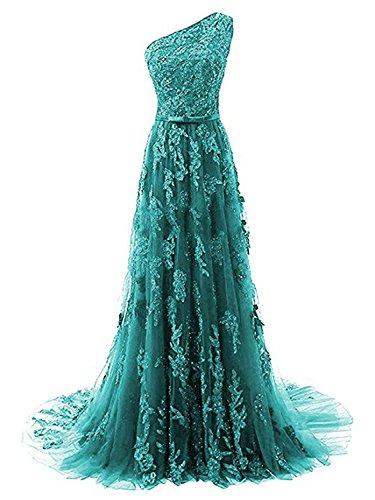 Kleid Schleppe Festkleid Ein Lang Abendkleider Schulter Peacock Spitze Damen Ballkleider 4wqfFgg