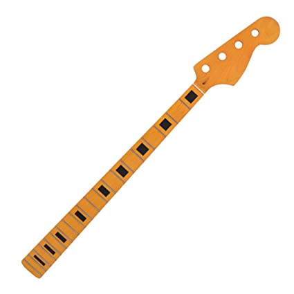 ammoon Cuello de Bajo Eléctrico Guitarra Madera de Arce Amarilla 20 Reparación de Trastes Piezas de