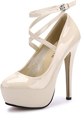 Ochenta - Zapato de tacón alto con plataforma y correa para el tobillo, para mujer