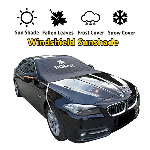 Green Frost Front Thermal - BOFAA Car Windshield Sunshade(Non-Magnetic), Sun Shade for Car Windshield with Mirror Covers,Blocking UV Sun Rays,Fallen Leaves, Snow,Elastic Hooks Design Will Not Scratch Paint (M - 85 x 49 inches)