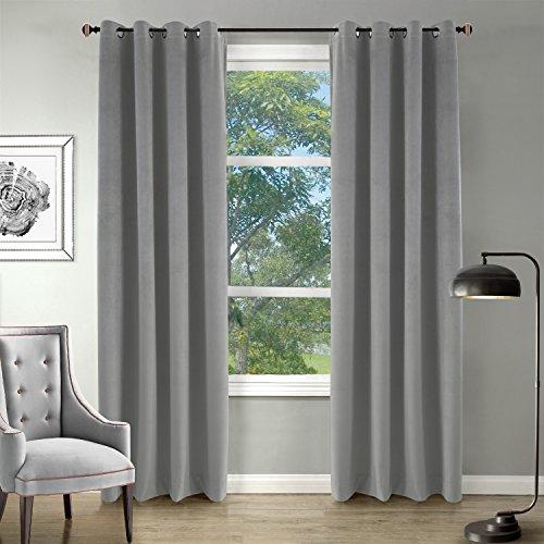 Blackout Premium Velvet Curtain For Living room Bedroom Meetingroom Grommet Top Gray 50''W96''L One Panel