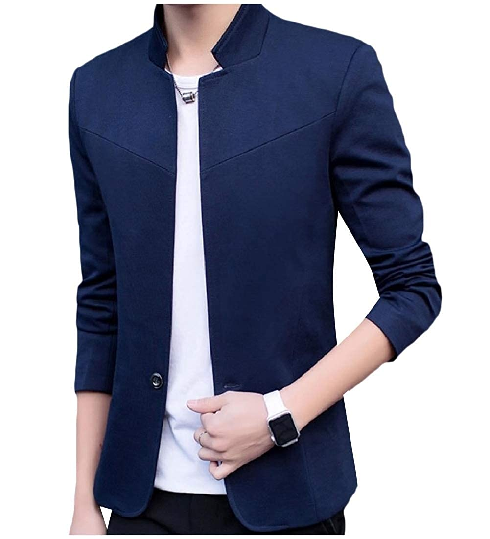 Doanpa Mens Tuxedo Button Mandarin Collar Casual Suit Jacket Blazer Coat