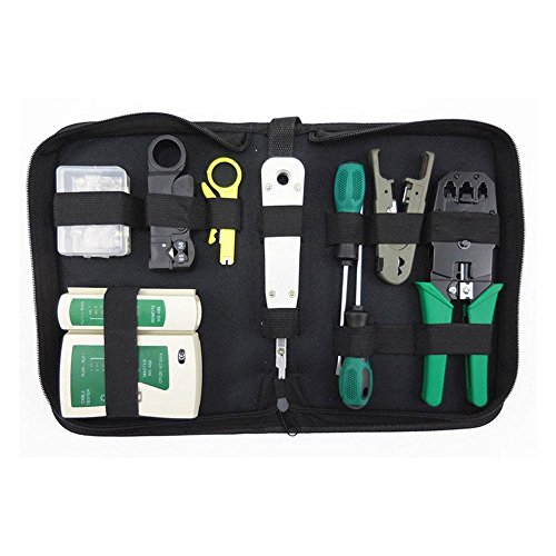 Network Crimping Tool Kit,Network Cable Repair Maintenance Tool Kit Set,Professional Net Computer Maintenance LAN Cable Tester By Aolvo