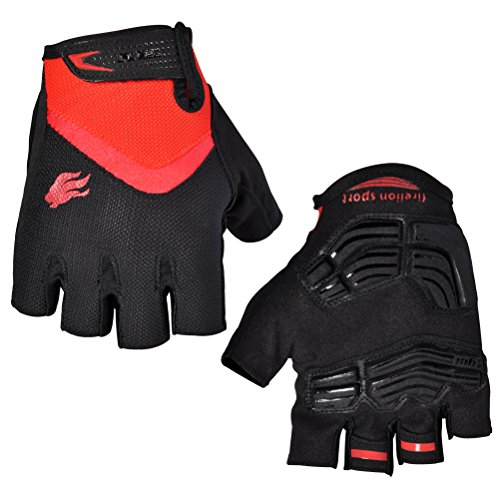 FIRELION Breathable Cycling Gloves (Half Finger) - Gel Pad Anti-Slip Shock-Absorbing MTB DH - Mountain Road Bike Bicycle Gloves (Best Autumn Cycling Gloves)