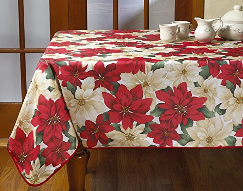 n Holiday Christmas Poinsettia Floral Design Printed Oblong/Rectangle Tablecloth, 60
