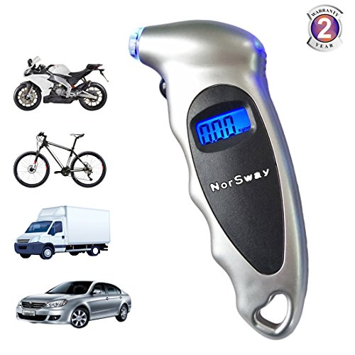 Digital Tire Pressure Gauge LCD Backlit Display 100 PSI (Star Silver) (Gauge Tire Digital Keychain)