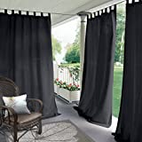 Cololeaf Indoor/Outdoor Tab Top Curtain Waterproof For Patio| Porch| Gazebo| Pergola | Cabana | dock| beach home - Black 100W x 96L Inch (1 Panel)