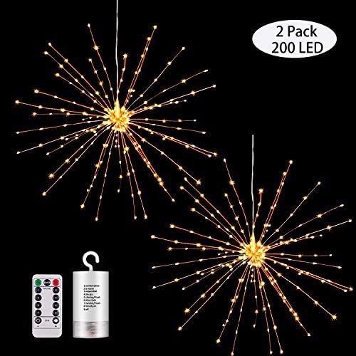 2 Pack Hanging Decor Lights,200 Led Battery Powered Fairy Lights, Fireworks Light with Remote, Waterproof Starburst Lights for Gardens Courtyards Christmas Festive Wedding Parties 2 Pack Warm White