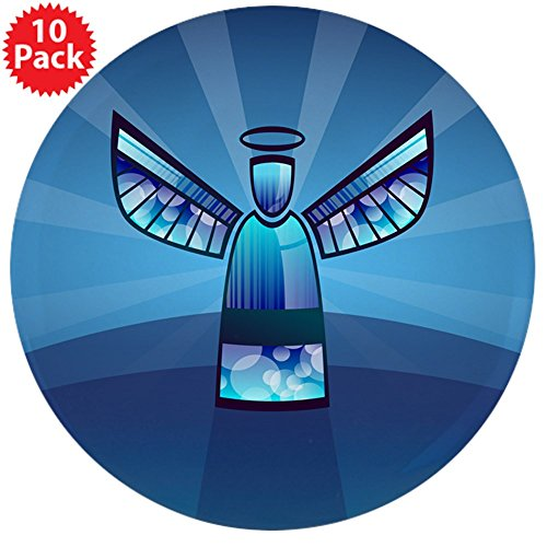 3.5 Inch Button (10 Pack) Contemporary Abstract Stained Glass (Heavenly Angel Pins)