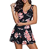 Zando Women One Piece Bathing suit Tummy Control Swimsuits with Boyshort Swim Dress Swimwear Slimming Skirt Bathing Suit Dress Flower Print Pink 12-14