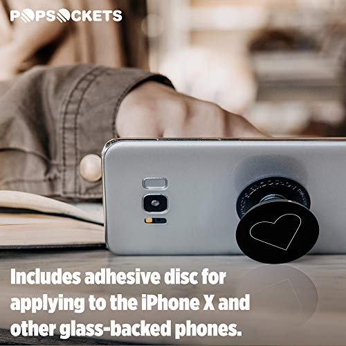 PopSockets: Collapsible Grip & Stand for Phones and Tablets - White Heart Black by PopSockets (Image #5)