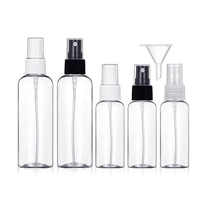Bote Spray Botella de Aerosol Vacío Plástico Transparente Niebla Fina Atomizador de Viaje Conjunto de Botellas