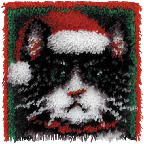 Caron Wonder Art Christmas Cat Latch Hook Kit #4695 by Caron International