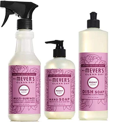 (8 Piece Meyer's Cleaning Set - Includes Multi Surface Cleaner, Dish Soap, Hand Soap, Sponges, Concentrated Glass Cleaner, Travel Tissue Packs, Caddy Basket (Peony))