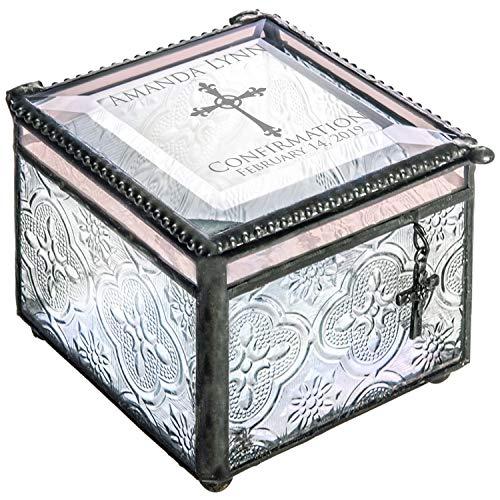 - J Devlin Box 631 EB 221 Confirmation Keepsake Box Engraved Glass Jewelry Box Trinket Rosary Case