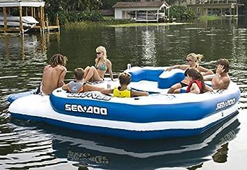 Mar-Doo 8 persona Mega inflable isla lago flotador/4 altavoz sistema de música W: Amazon.es: Deportes y aire libre
