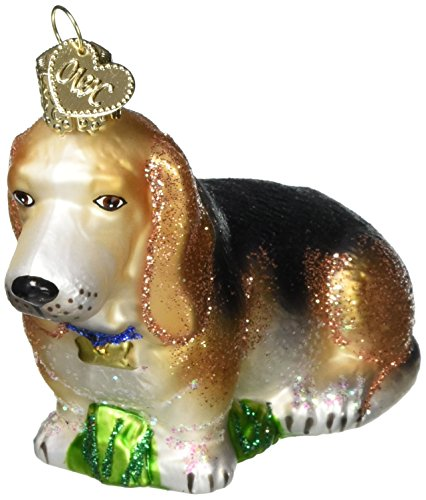 Old World Christmas Bassett Hound Glass Blown Ornament