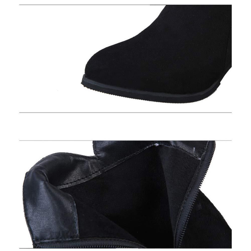 Eeayyygch Herbst wies Frauen Stiefelies Side Zip, vielseitige vielseitige vielseitige Mode High Heel Stiletto Martin Stiefel (Farbe   Schwarz, Größe   35) 022d96