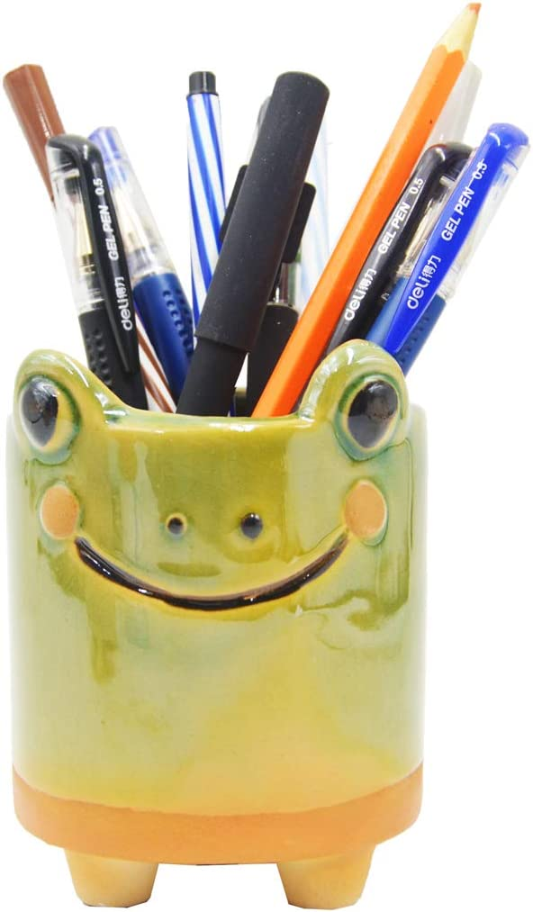 Ceramic Frog Pencil Holder Frog Pencil Holder for Desk Decoration Accessories Succulent Plant Pot Office School Gift