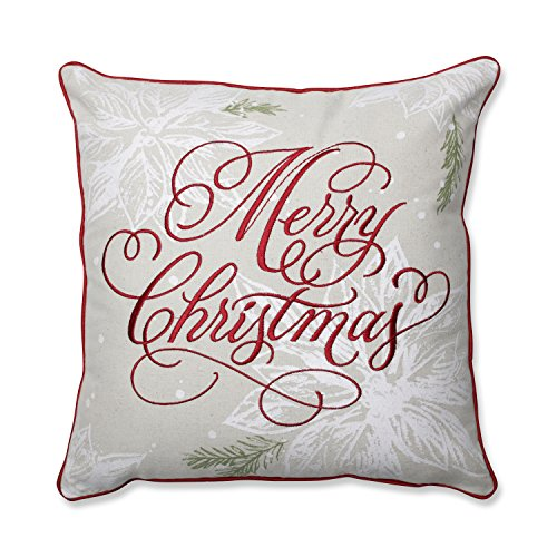 Pillow Perfect Merry Christmas Red 17-inch Throw Pillow (Pillow Red Merry)