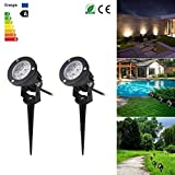 ONEVER LED Landscape Spotlight Outdoor, ABEDOE 7W 550Lumen Waterproof LED Lawn Lamp Lights with Spike for Home Garden Decor, AC/DC 12V, Warm White (Pack of 2X)