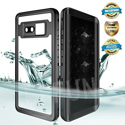 EFFUN Samsung Galaxy Note 8 Waterproof Case, IP68 Certified Waterproof Underwater Cover Dust/Snow/Shock Proof Case with Phone Stand, PH Test Paper and Floating for Strap for Samsung Note 8 Black