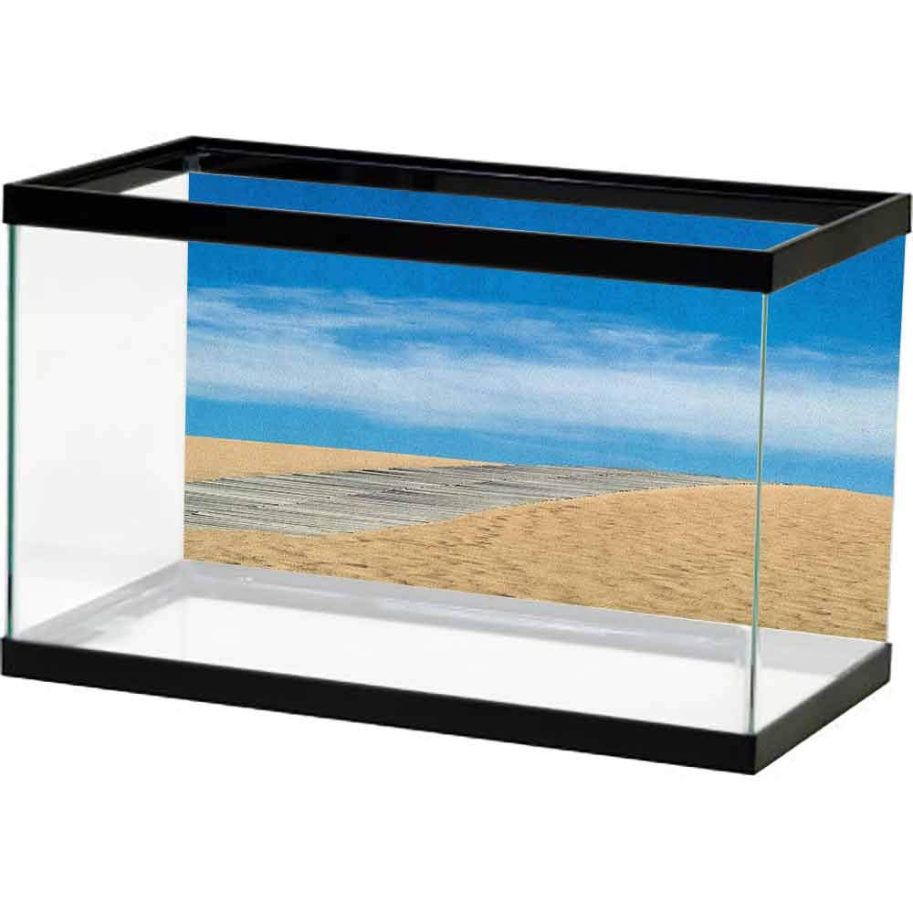 homecoco Classic Colorful Beach,Wooden Path Over a Sand Dune Secret Paradise Beach for Recreation and Clam Photo, Cream Blue 3D One Side Fish Tank by homecoco