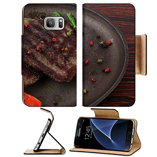 Luxlady Premium Samsung Galaxy S7 Flip Pu Leather Wallet Case IMAGE ID: 25380513 fresh roast beef fillet mignon on old retro style cast iron pan on retro wooden table as ()