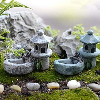 Rainandsnow Miniatura Paisaje Retro Estanque decoración para jardín Torre Paisaje jardín Miniatura Bonsai Resina Figuras realistas césped DIY: Amazon.es: Hogar