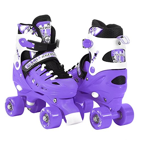 Adjustable Purple Quad Roller Skates for Kids Large Sizes for Boys Teens Ladies