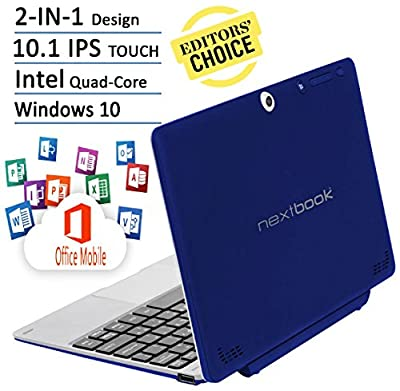 Nextbook Flagship Blue Edition Flexx 10.1-Inch Touchscreen 2 IN 1 Tablet Laptop With Keyboard (Intel Quad-Core Z3735F Processor, 2G RAM, 32G Storage with 32G MicroSD, IPS, Windows 10)