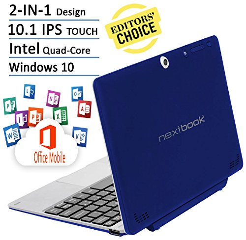 Nextbook Flagship Blue Edition Flexx 10.1 Touchscreen 2 IN 1 Tablet Laptop With Keyboard Free Office Moblie (Intel...