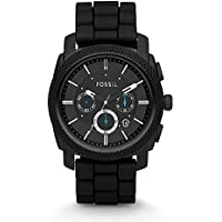 Men's FS4487 Machine Chronograph Black Stainless Steel Watch with Silicone Band