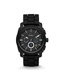 Fossil Men's FS4487 Black Silicone Bracelet Black Analog Dial Chronograph Watch