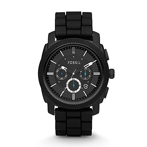 Fossil Men's FS4487 Machine Chronograph Black Stainless Steel Watch with Silicone Band Chronograph Dive Watch