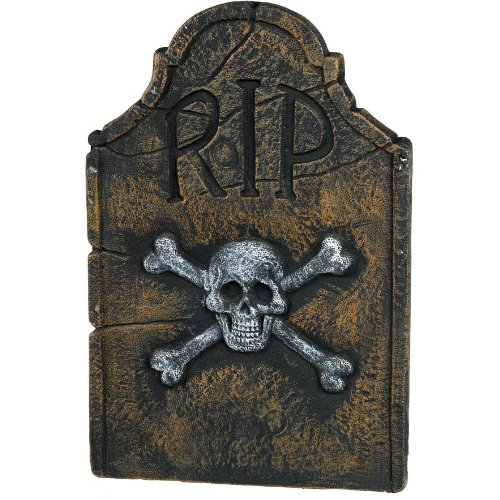 Amscan Creepy Cemetery Halloween Party Skull & Crossbones Tombstone (1 Piece), Black, 22