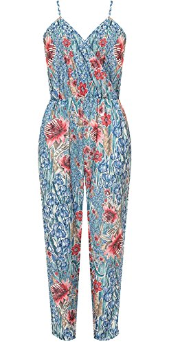 21FASHION Ladies Fancy Sleeveless Strappy Floral Print Jumpsuit Womens Wrapover Pocket Party Wear Crepe Dress: Amazon.co.uk: Clothing