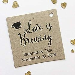 Love Is Brewing Kraft Favor Tags, Coffee Cup Wedding Favor Tags, Wedding Hang Tags (SQ-095-KR)