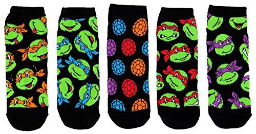 Teenage Mutant Ninja Turtles Mens Ankle-No Show Socks 5 Pair Pack ()