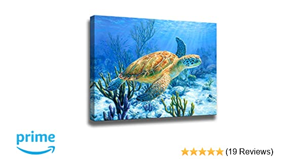 Amazon Com Bathroom Decor Sea Turtle Pictures Painting Wall Art