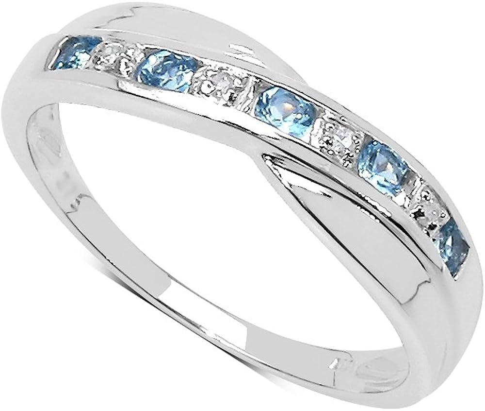 La Colección Anillo Diamante: Anillo de Topacio con set de Diamantes en Plata de ley Perfecto para regalo, Anillo de Eternidad o Aniversario, Talla 6,8,9,10,11,12,13,15,16,17,19,20,21,22,24,25
