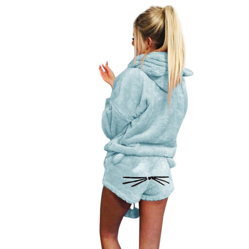 friendGG Women Solid Color Warm Winter Set Two Piece Cute Cat Pajamas Hoodie Sleepwear, Ladies Sweatshirt Hoodie Coat Shirt Pullover