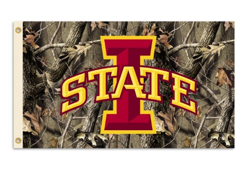 NCAA Iowa State Cyclones 3-by-5 Foot Flag with Grommets - Realtree Camo Background