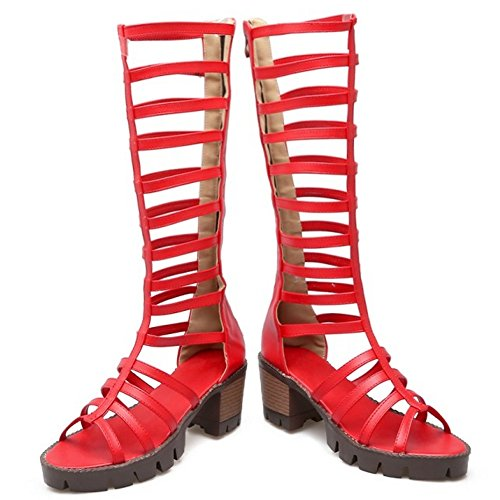 TAOFFEN Mujer Gladiador Peep Toe Bottilons Sandalias Clasico Tacon Ancho Tacon Medio Cremallera Zapatos Rojo